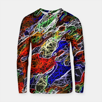 Thumbnail image of psychedelic rotten sketching texture abstract background in red blue green Cotton sweater, Live Heroes