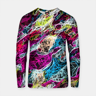 Thumbnail image of psychedelic rotten sketching texture abstract background in pink blue yellow Cotton sweater, Live Heroes