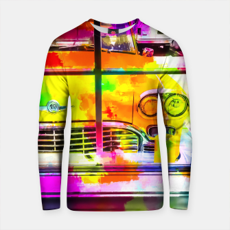 Thumbnail image of yellow classic taxi car with colorful painting abstract in pink orange green Cotton sweater, Live Heroes