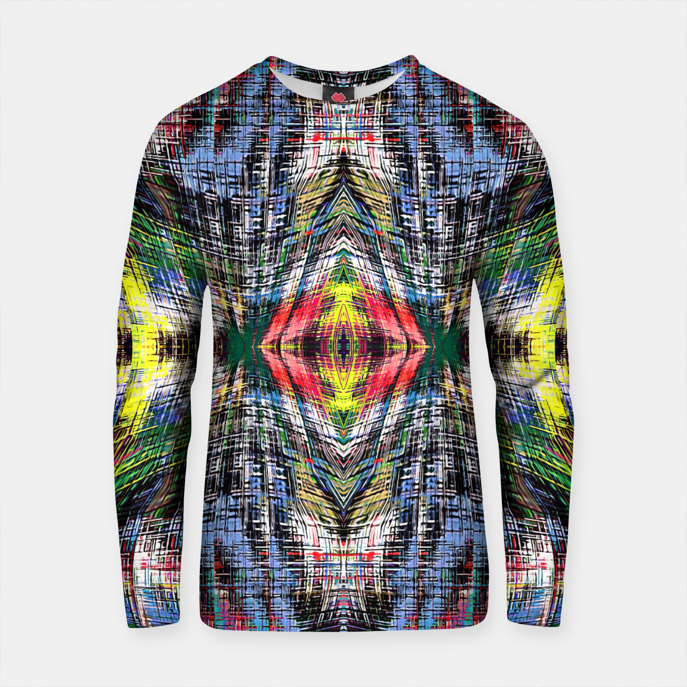 Zdjęcie geometric symmetry pattern abstract background in blue yellow green red Cotton sweater - Live Heroes