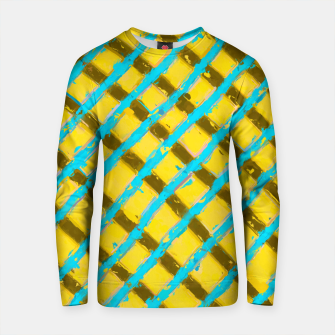 Imagen en miniatura de line pattern painting abstract background in yellow blue brown Cotton sweater, Live Heroes