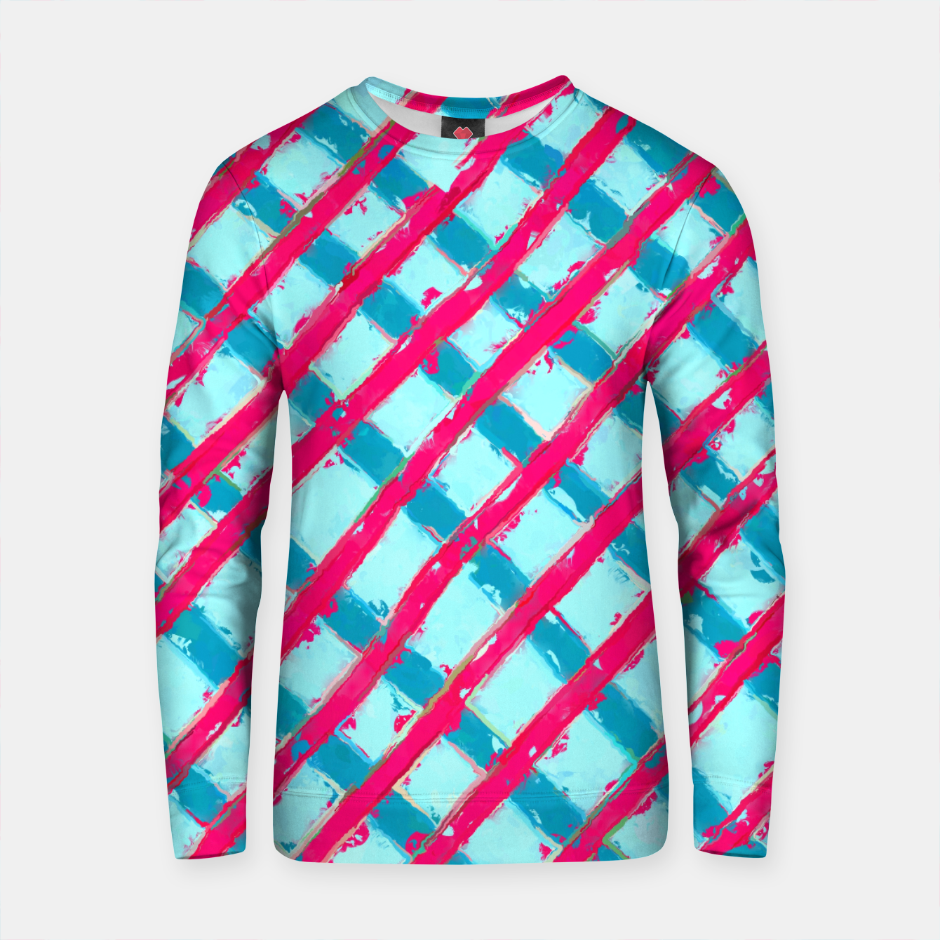 Zdjęcie line pattern painting abstract background in blue and red Cotton sweater - Live Heroes
