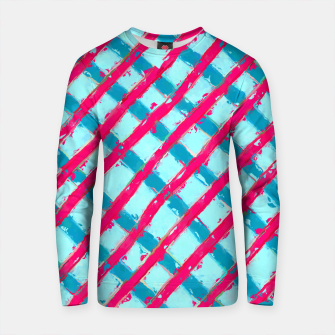 Imagen en miniatura de line pattern painting abstract background in blue and red Cotton sweater, Live Heroes