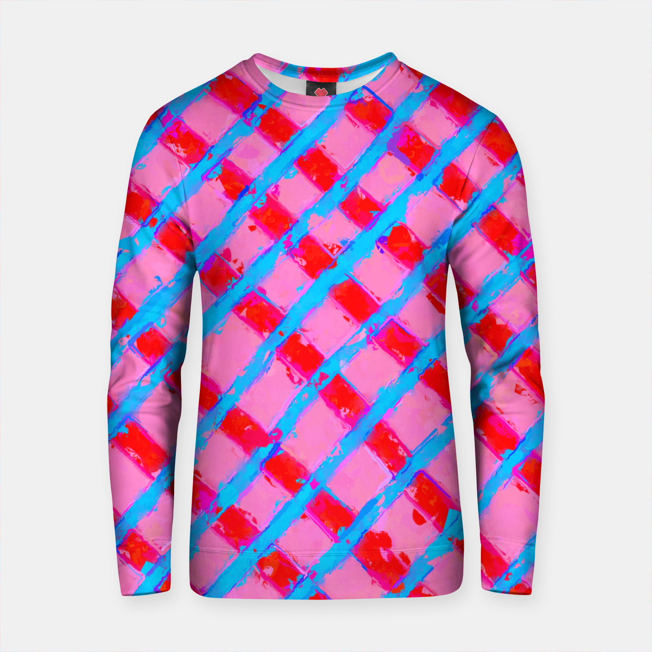 Zdjęcie line pattern painting abstract background in pink red blue Cotton sweater - Live Heroes
