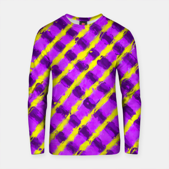 Imagen en miniatura de line pattern painting abstract background in purple and yellow Cotton sweater, Live Heroes