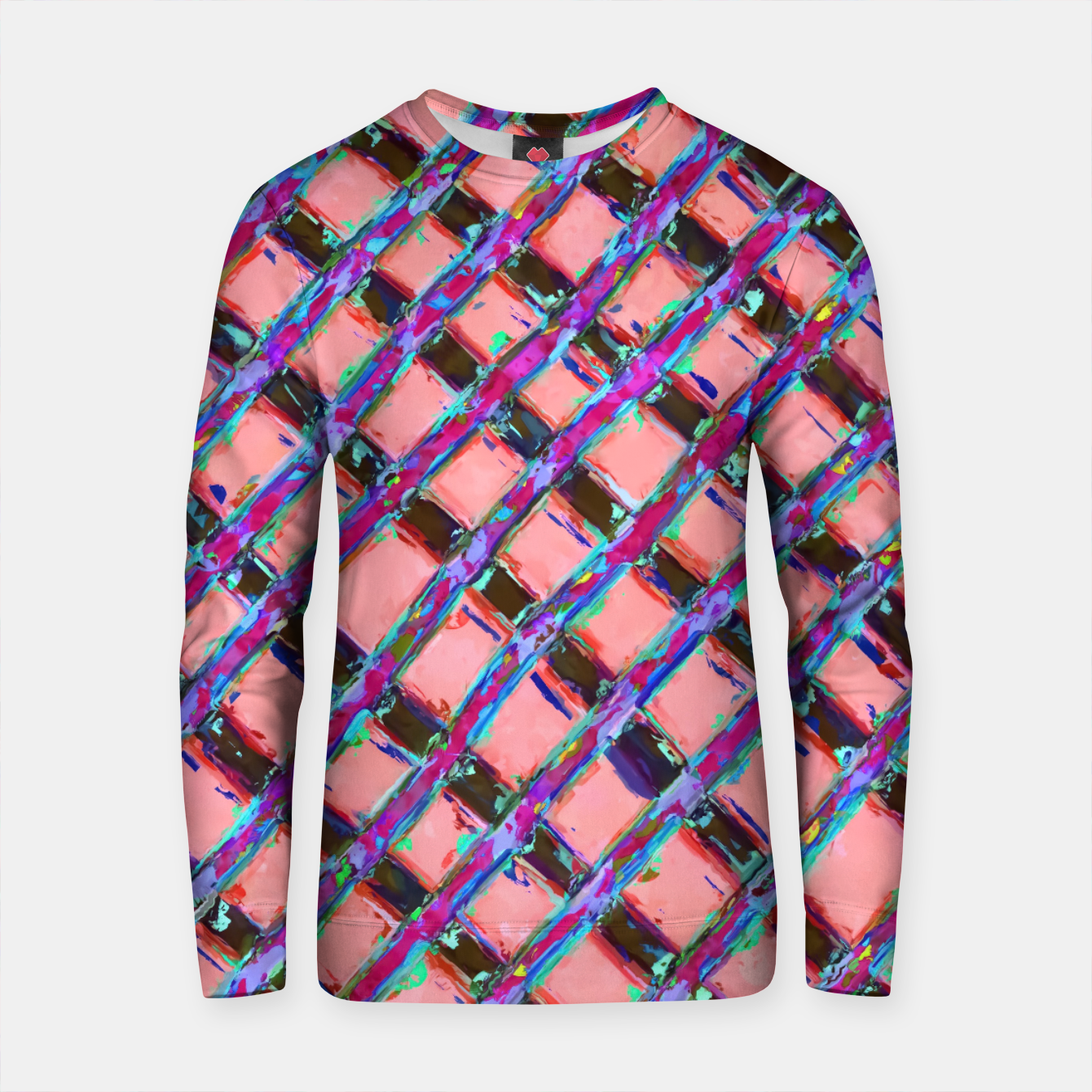Zdjęcie line pattern painting abstract background in pink blue purple Cotton sweater - Live Heroes