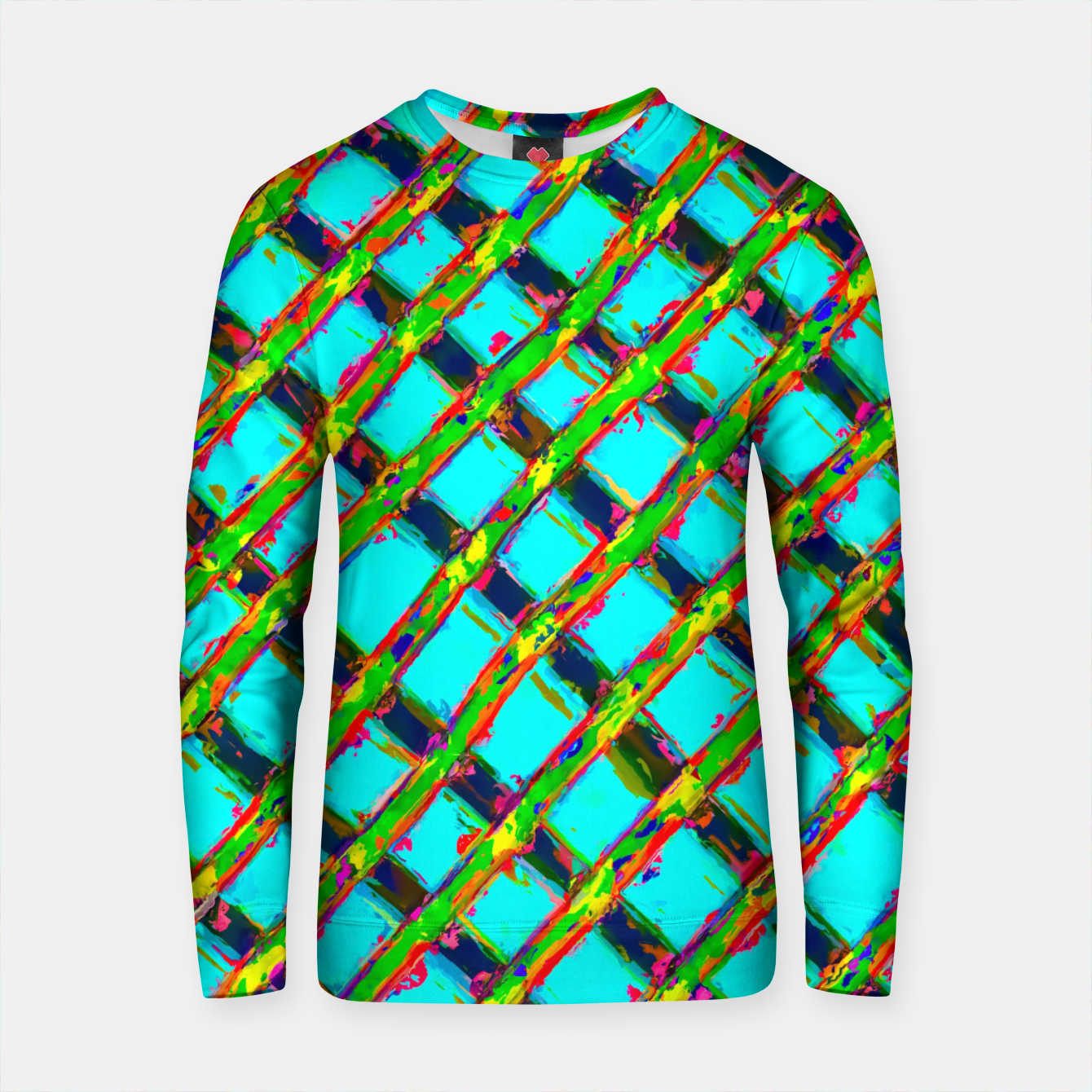 Zdjęcie line pattern painting abstract background in blue green red yellow Cotton sweater - Live Heroes