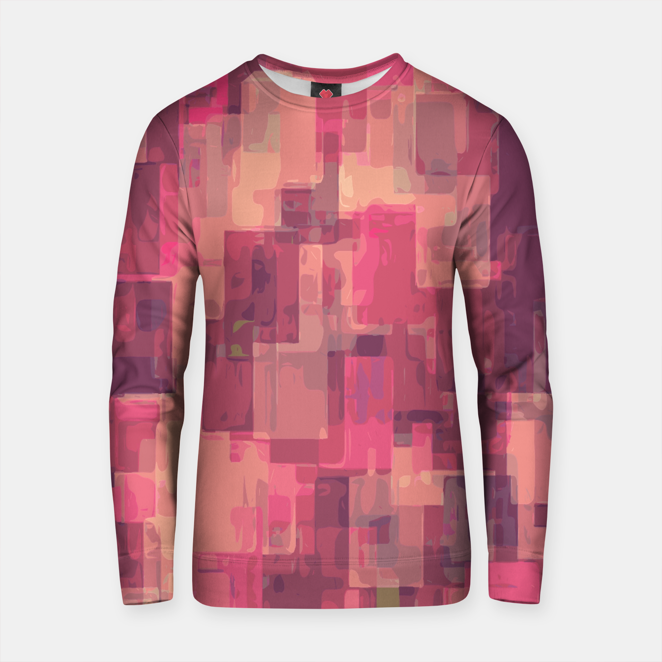 Zdjęcie psychedelic geometric square pattern abstract in pink and purple Cotton sweater - Live Heroes