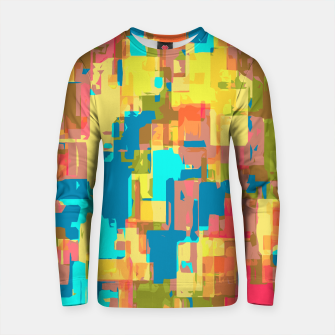 Imagen en miniatura de psychedelic geometric abstract pattern in blue pink green yellow brown Cotton sweater, Live Heroes