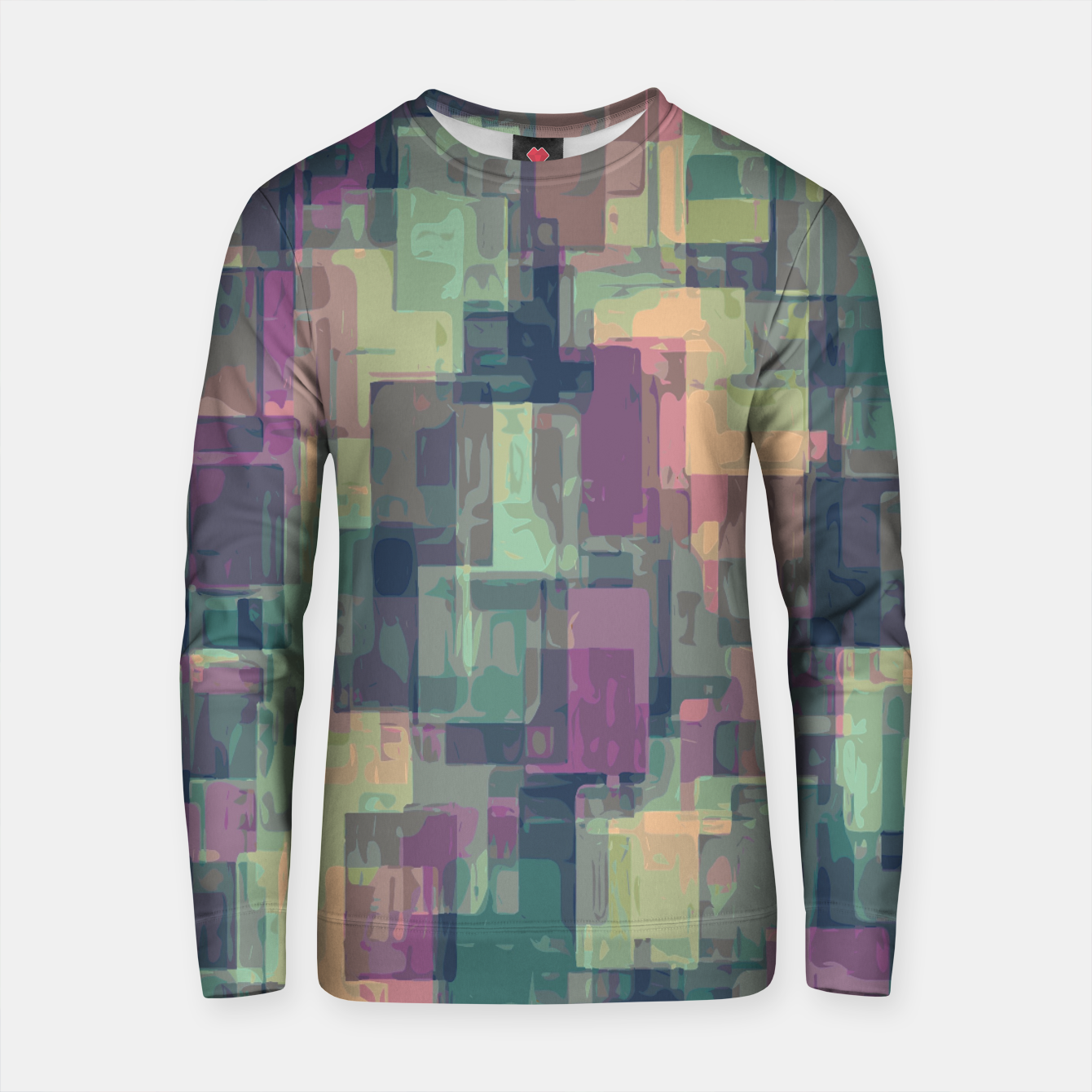 Zdjęcie psychedelic geometric square pattern abstract in pink and green Cotton sweater - Live Heroes