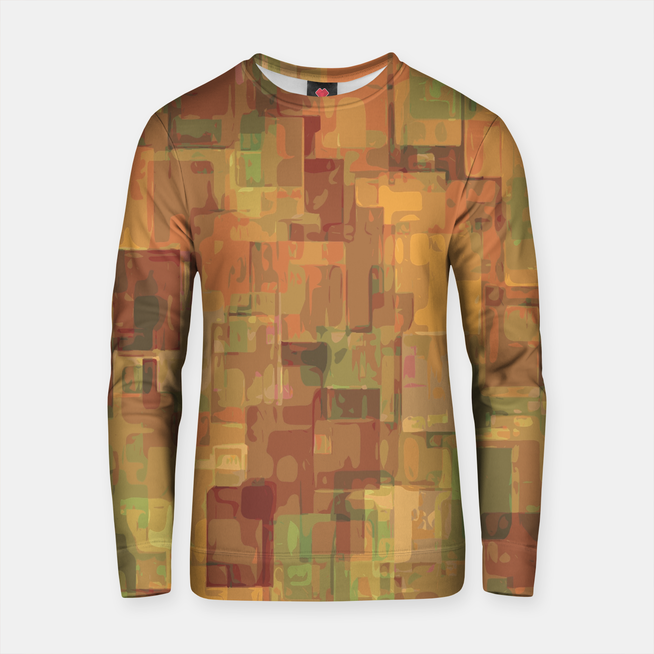 Zdjęcie vintage psychedelic geometric square pattern abstract in brown and green Cotton sweater - Live Heroes