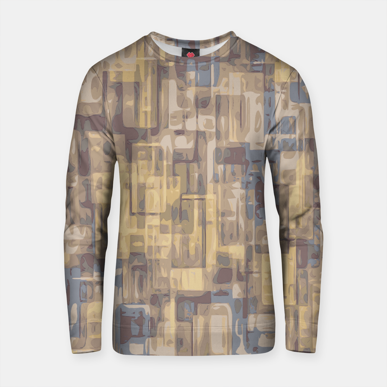 Zdjęcie psychedelic geometric square pattern abstract in brown yellow and blue Cotton sweater - Live Heroes