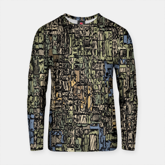 Imagen en miniatura de vintage psychedelic drawing and sketching abstract background in blue and brown Cotton sweater, Live Heroes