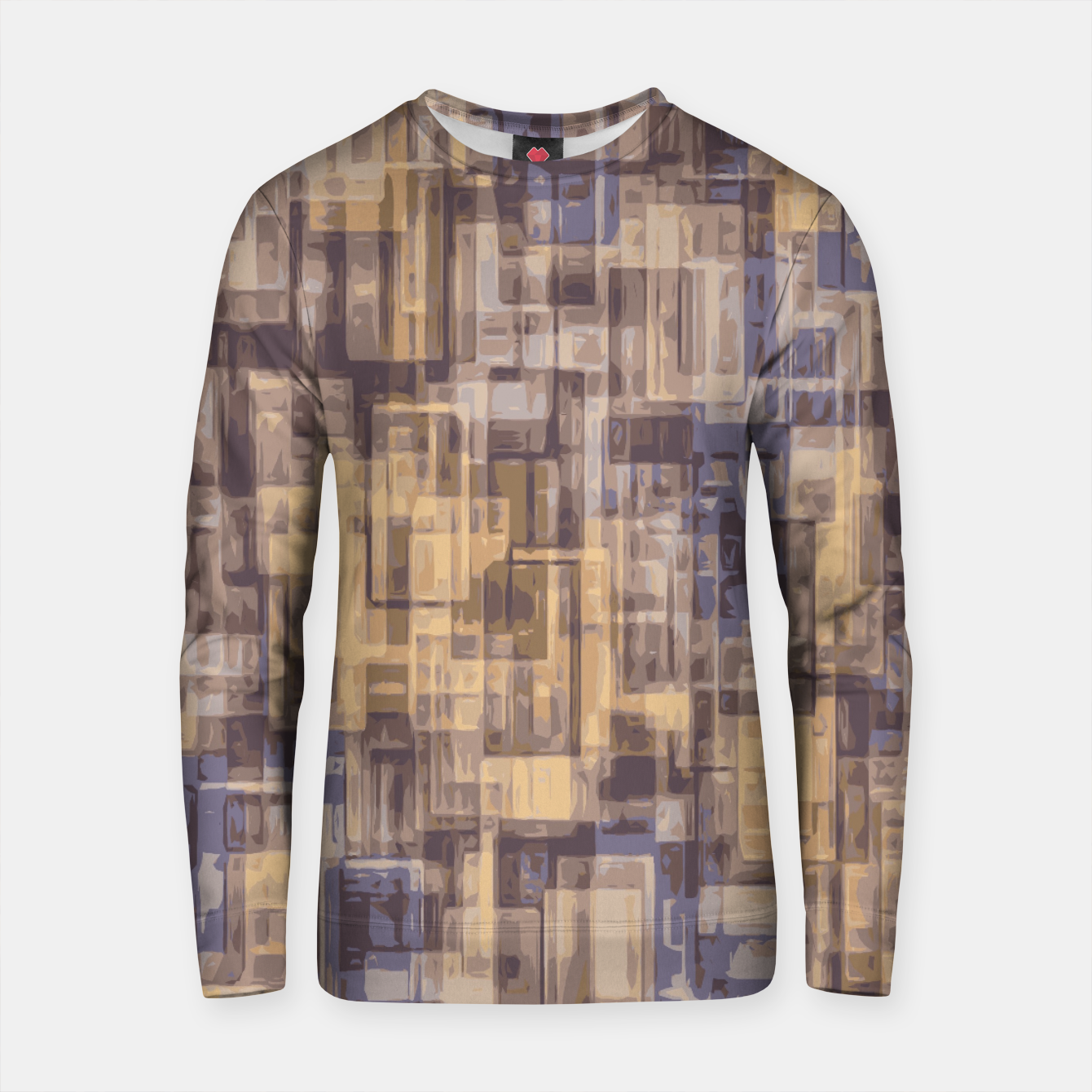 Zdjęcie psychedelic geometric square pattern abstract in brown and blue Cotton sweater - Live Heroes