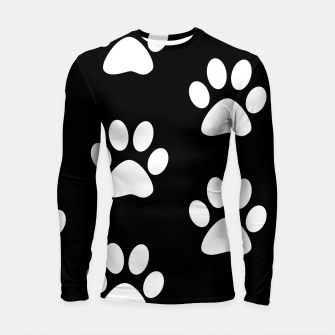 Thumbnail image of Paws Black and White On Black Background Longsleeve rashguard , Live Heroes
