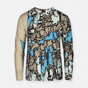 Thumbnail image of drawing and sketching abstract in blue with brown background Cotton sweater, Live Heroes