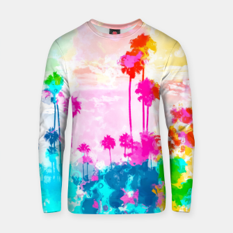 Thumbnail image of palm tree wth colorful painting abstract background in pink blue green red yellow Cotton sweater, Live Heroes