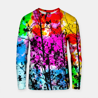 Thumbnail image of tree branch with splash painting texture abstract background in pink blue red yellow green Cotton sweater, Live Heroes