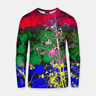 Thumbnail image of tree branch with leaf and painting texture abstract background in red green blue pink yellow Cotton sweater, Live Heroes