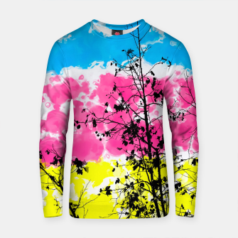 Thumbnail image of tree branch with leaf and painting texture abstract background in blue pink yellow Cotton sweater, Live Heroes