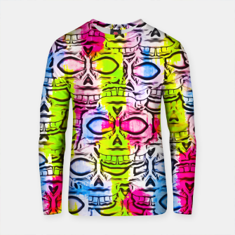 Thumbnail image of skull art portrait pattern with painting abstract in yellow blue pink Cotton sweater, Live Heroes