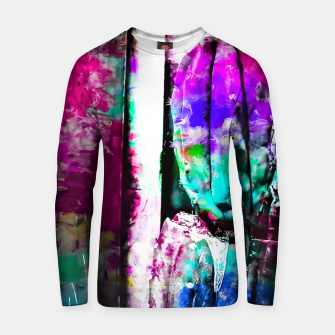 Thumbnail image of cactus with wood background in painting texture abstract in pink purple green blue Cotton sweater, Live Heroes