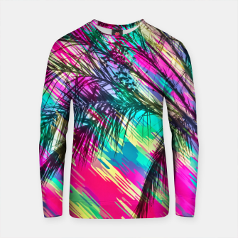 Thumbnail image of palm tree with colorful abstract background in pink green yellow blue Cotton sweater, Live Heroes