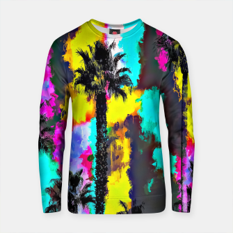 Thumbnail image of palm tree pattern with painting texture abstract in green blue yellow pink Cotton sweater, Live Heroes