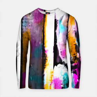 Thumbnail image of cactus with wooden background and colorful painting abstract in orange blue pink Cotton sweater, Live Heroes