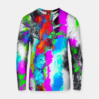 Thumbnail image of palm tree with colorful painting abstract background in blue pink green orange red Cotton sweater, Live Heroes