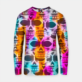 Thumbnail image of skull art portrait with colorful painting abstract in pink orange blue Cotton sweater, Live Heroes