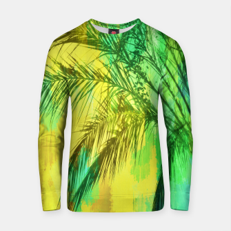 Thumbnail image of palm tree with green and yellow painting texture abstract background Cotton sweater, Live Heroes