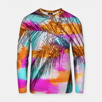 Thumbnail image of palm tree with colorful painting abstract background in pink orange blue Cotton sweater, Live Heroes