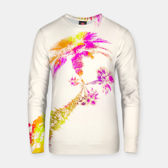 Thumbnail image of palm tree over the sky in pink purple green yellow Cotton sweater, Live Heroes