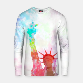 Thumbnail image of Statue of Liberty with colorful painting abstract background in red pink blue yellow Cotton sweater, Live Heroes