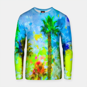 Thumbnail image of green palm tree with blue yellow green painting abstract background Cotton sweater, Live Heroes