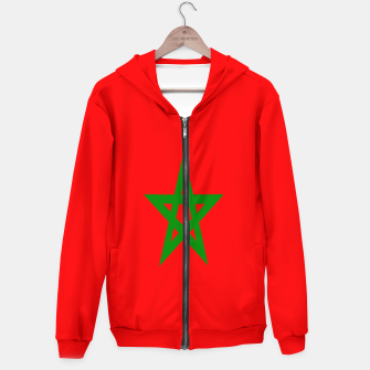 Thumbnail image of Flag of Morocco  Cotton zip up hoodie, Live Heroes