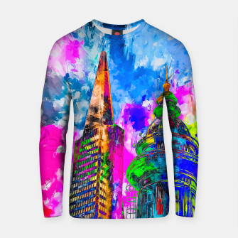 Thumbnail image of pyramid building and classic building exterior at San Francisco, USA with colorful painting abstract background Cotton sweater, Live Heroes