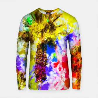 Thumbnail image of palm tree with colorful painting texture abstract background Cotton sweater, Live Heroes