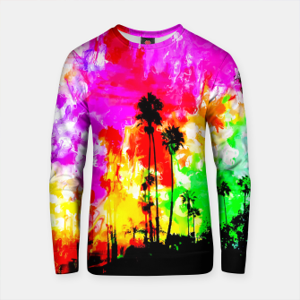 Thumbnail image of palm tree at the California beach with colorful painting abstract background Cotton sweater, Live Heroes