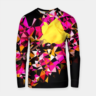 Thumbnail image of geometric polygon heart shape pattern abstract in pink orange with yellow rose Cotton sweater, Live Heroes