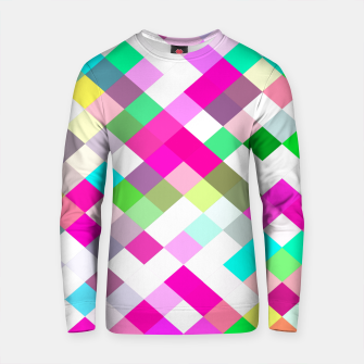 Thumbnail image of geometric square pixel pattern abstract in pink green yellow blue Cotton sweater, Live Heroes