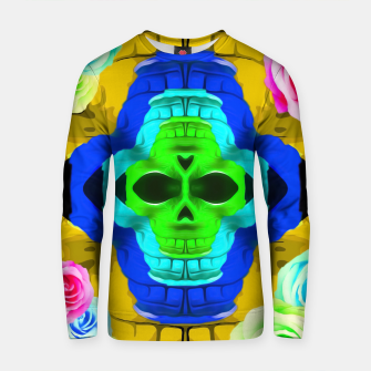 Thumbnail image of funny skull portrait with colorful roses in pink blue yellow green Cotton sweater, Live Heroes