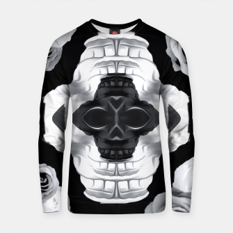 Thumbnail image of funny skull portrait with roses in black and white Cotton sweater, Live Heroes