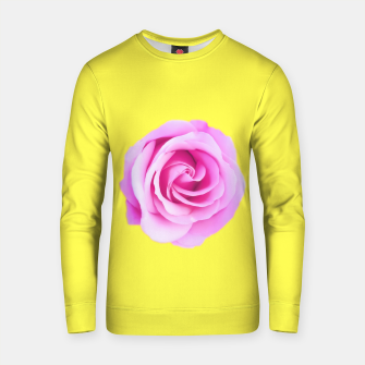 Thumbnail image of closeup pink rose with yellow background Cotton sweater, Live Heroes