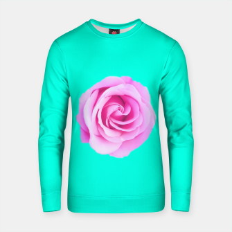 Thumbnail image of closeup pink rose with green background Cotton sweater, Live Heroes