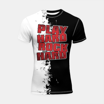 Thumbnail image of Play Hard Rock Hard Shortsleeve rashguard, Live Heroes