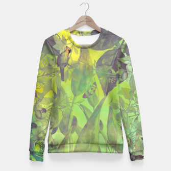 Miniaturka Flowers and birds green #flowers Bluza bawełniana damska, Live Heroes