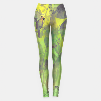 Thumbnail image of Flowers and birds green #flowers Legginsy, Live Heroes