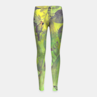 Thumbnail image of Flowers and birds green #flowers Legginsy dziewczęce, Live Heroes